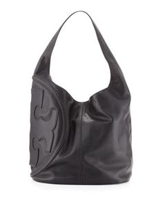All T Pebbled Leather Hobo Bag, Black by Tory Burch at Neiman Marcus.