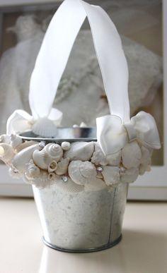 Beach wedding, flower girl pail.    Seashell Flower Girl Pail  Beach Wedding by NatasDoCeu on Etsy,