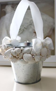 Beach wedding, flower girl pail. Seashell Flower Girl Pail Beach Wedding by NatasDoCeu on Etsy, $28.00