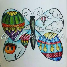 """""""Butterfly balloon tattoo design  #michaellock69 #mytattoodesigns #drawings #butterfly #butterflytattoodesign #butterflytattoo #hotairballoons…"""""""