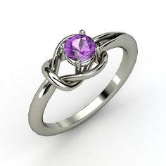 Round Amethyst Palladium Ring | Hercules Knot Ring | Gemvara