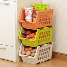 2015 New Japan Imported Kitchen Shelving Stackable Plastic Floor Storage  Box Storage Baskets Of Fruits And