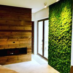 03 a fresh moss wall and a reclaimed fireplace wall bring a strong natural and relaxing fele to the space - DigsDigs Bedroom Decoration Images, Wall Decor Design, Decoration Table, Modern Bathroom Decor, Modern Bedroom, Moss Wall Art, Im Coming Home, Elegant Kitchens, Brown Walls