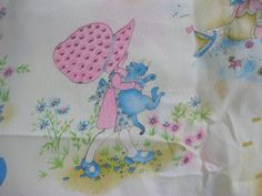 vintage fabric in pink and blue