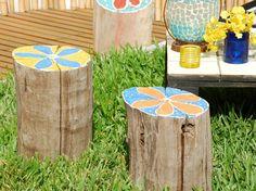painted tree stump tables