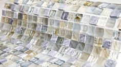 GM0118LBE - Iridescent Glow Series, Blue Stone #tile #tiles #tiledaily #glass #mosaic #wall #floor #pool #covering #backsplash #kitchen #blue #stone #grey #bathroom #shower #feature #interior #design #boutique