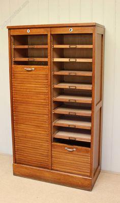 French Tambour Front Oak Filing Cabinet - Antiques Atlas