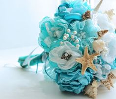 Beach Wedding Bouquets | beach wedding bridal bouquet design turquoise faux flowers pearls ...