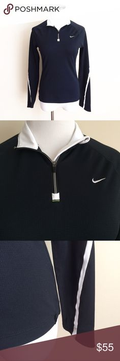 NIKE Fit Dry Black white 3/4 zip pullover Shirt Gently worn. Black with white trim. 3/4 zip pullover shirt. Size small (4-6) Fitted style. Nike Tops