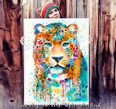 Panther Leopard Jaguar watercolor painting print by SlaviART
