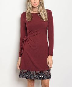 Take a look at this Wine Arabesque-Hem Side-Knot Sheath Dress today!