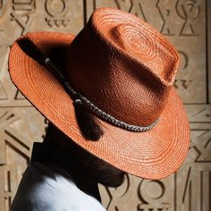 "Corina Haywood Hat's Hand Sculpted Unisex Panama Straw Hat, ""Leo"" in cinnamon with a vintage horsehair braid hat band. contact corinamyla@gmail.com for sales inquiries."