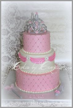 gumpaste crown, wand, and slipper accents this 3-tier pampered princess...