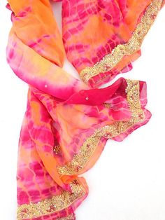 Pink and Orange Silk Chiffon Scarf boho bohemian indian style india fashion saree sari tie dye bollywood