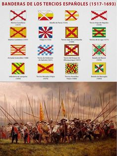 Email me if you know what country has these flags in its history or herstory . Spain History, World History, Military Art, Military History, Military Tactics, Renaissance, Thirty Years' War, Holy Roman Empire, Landsknecht