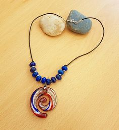 Glass pendant Lapis lazuli necklace Leather cord with