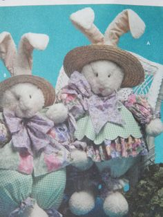 Bunny And Clothes Sewing Pattern/ Simplicity Craft 7020/ 32 Inches Tall/ rabbit, easter, stuff, home decor/Uncut.