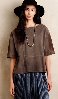 Seamed Suede Tee