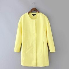 """HPEgg shaped coat 100% cotton yellow, BN LAST ONE! HP 4/18/15 Date NightMust-have coat for every closet! BNWOT. 100% cotton, premium quality, perfect for spring  Hidden front zipper, egg shaped silhouette, fully lined, two front pockets. ✨Available in Size S (labeled as L). Measurements: S length 30"""", bust 38.5"""", sleeve 24"""". ✨ Also available in navy blue in size XS and S. ❤️Ask me about bundle discounts ✋No trades, No PayPal ✋ Jackets & Coats"""