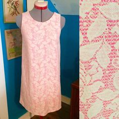 "H&M Hot Pink and Lace Retro Shift Dress This shift dress is so adorable! It is a hot pink fabric overlaid with a pretty off white lace. It's very 60s looking! Measurements are: 34"" bust/36"" waist/33"" length. In EUC! H&M Dresses Mini"