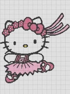 CROCHET PATTERN HELLO KITTY BALLERINA AFGHAN GRAPH E-MAILED.PDF For Sale