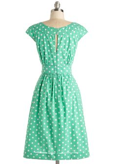 Day After Day Dress in Mint Dots. You can trust that this pocketed dress by hard-to-find British brand Emily and Fin will lift your spirits when you need it! #mint #modcloth