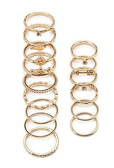 Multi-Pendant Midi Ring Set | Forever 21 - 1000118236 I have been so into rings and i have really wanted a set like this!