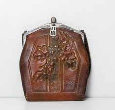 antique tooled leather purse / 1910's by StopTheClock on Etsy, $98.00