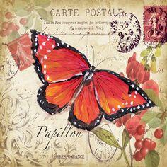 Картинки декупаж для печати: птицы и бабочки