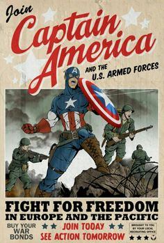 "Propaganda poster inspired by the movie ""Captain America: The First Avenger"". Based on Captain America figure by Sideshow Collectibles: [link] Captain America poster Jack Kirby, Captain America Poster, Capt America, Marvel Comics, Marvel Avengers, Ww2 Propaganda Posters, The Lone Ranger, Mundo Comic, Comic Books Art"