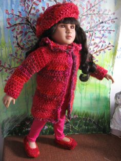 Coat set I made for my first My Twinn Doll Crochet Hats, Dolls, Coat, Fashion, Knitting Hats, Moda, Fashion Styles, Puppet, Doll