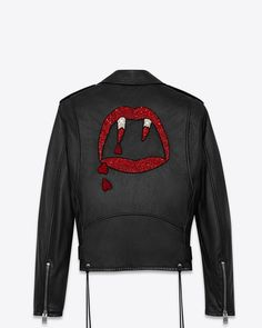 AINT LAURENT BLOOD LUSTER MOTORCYCLE JACKET IN BLACK SLOUCHY LEATHER AND RED AND WHITE BEADING