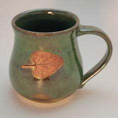Wheel Thrown Stoneware Catnip Mug in Seaweed Green on Etsy, $25.00