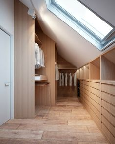Attic closet ideas walk in eaves storage 49 Ideas Bedroom Storage Ideas For Clothes, Bedroom Storage For Small Rooms, Closet Ideas, Wardrobe Ideas, Attic House, Attic Closet, Attic Office, Attic Library, Master Closet