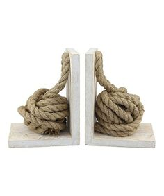 Nautical Rope Knot Bookend - Set of Two coastal home decor