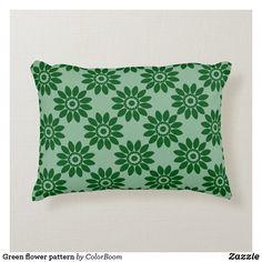 Green flower pattern accent pillow Soft Pillows, Accent Pillows, Throw Pillows, Green Cushions, Green Home Decor, Green Flowers, Flower Patterns, Soft Fabrics, Art Pieces