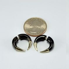 Fake Gauges – Sterling Silver Tipped Pincher Earrings Horn Faux Gauges | eBay