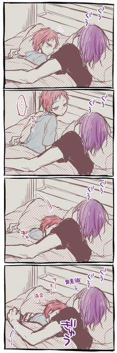 Murasakibara Atsushi x Akashi Seijūrō 赤司征十郎 x 紫原 敦【紫赤】忙しいからキスもハグも全然できなくてちょっと寂しいなーとか赤ちんは思ってるんだけど敦が疲れてるのも分かってるからバレないようにこっそりベッドの中でハグしてたらすごく萌える