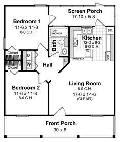 Tiny House Plan: 800 sq ft, 2 bedroom, 1 bathroom. Nice layout ...
