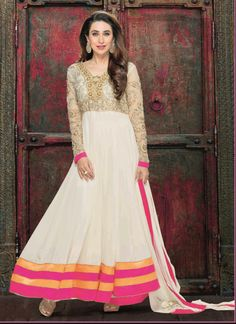 Glamorous Off White Zardosi Work Long Anarkali Suit Design No :- 18610 Product :- Unstitched Salwar Kameez Size :- Max 40 Fabric :- Georgette Work :- Embroidery Stitching Charges :- र 400 Price :- र 7041  For Sales Queries :- sales@manjaree.in OR call on 0261-3131669  For More Information :- http://manjaree.in/  Follow Our Blog :- http://manjareefashion.blogspot.in/