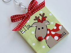 Hand Painted Canvas Rudolph the Reindeer ornament