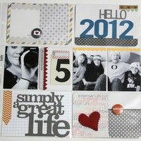 "A Project by studioLA from our Scrapbooking Gallery originally submitted 01/12/12 at 05:14 PM...love the large titles and the number and how you have a pic of you taking the family pic! so cool:) also love the subtle background with pops of color like the heart and the blue ""2012"""