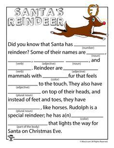 Santa's Reindeer Mad Libs for Kids diy decorations christmas, christmas diy decorations easy, diy christmas ideas Holiday Games, Christmas Party Games, Christmas Activities, Christmas Printables, Christmas Traditions, Holiday Fun, Activities For Kids, Christmas Crafts, Christmas Ideas