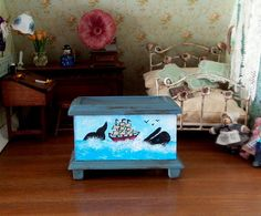Chest wooden with painting whale toys sea and boat by MadeInEven