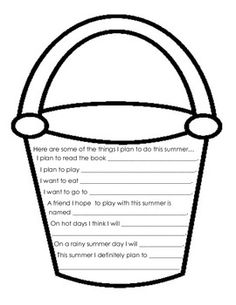 FREE Summer Bucket List Glyph and Writing activity