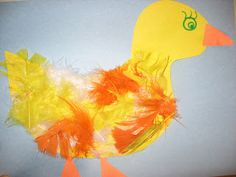 Touch and Feel Ducks! ( not every craft can be cute- doesn't this duck look a little rough?!) Gather your materials. For this duck I used 3 different pieces of paper, one for the background, one for the duck and one to cut the feet and beak out of. Also a marker for the outline and eyes, and of