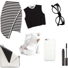 black- white by dobra-01 on Polyvore featuring мода, Monki, Glamorous and Laura Mercier
