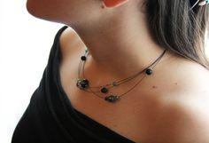 Collana ametista pietra lavica e agata viola verde e di clode83, €15,00. I could make that!