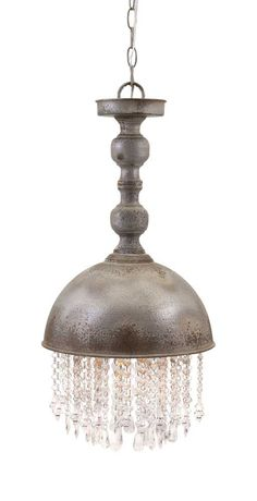 Add a vintage touch with this shabby chic metal pendant light featuring glass crystal accents and a weathered gray finish. Product Description • Product Dimensi