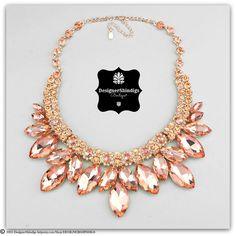 Chunky Rose Gold PeachRhinestone Statement Bridal Bib Necklace and Earrings Set Marquise by DESIGNERSHINDIGS on Etsy